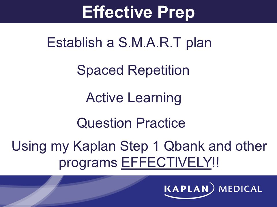 Effective Prep Establish a S.M.A.R.T plan Spaced Repetition Active Learning Using my Kaplan Step 1 Qbank and other programs EFFECTIVELY!! Question Pra