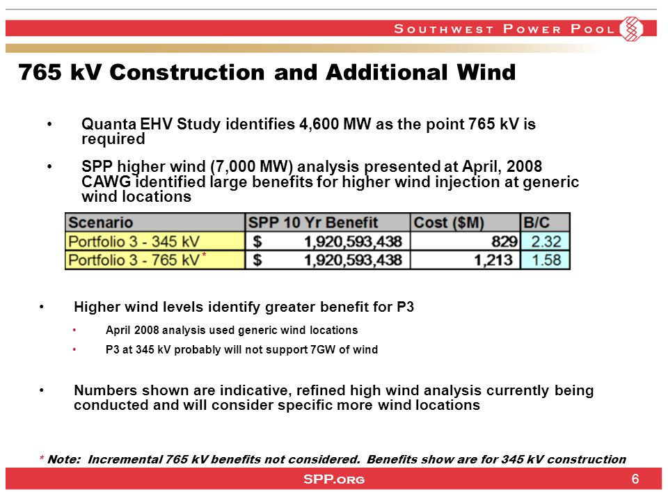 SPP.org 6 765 kV Construction and Additional Wind Higher wind levels identify greater benefit for P3 April 2008 analysis used generic wind locations P3 at 345 kV probably will not support 7GW of wind Numbers shown are indicative, refined high wind analysis currently being conducted and will consider specific more wind locations * Note: Incremental 765 kV benefits not considered.
