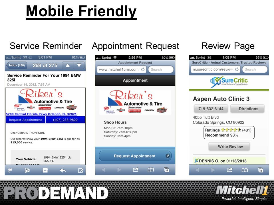20 Mobile Friendly Service ReminderAppointment RequestReview Page
