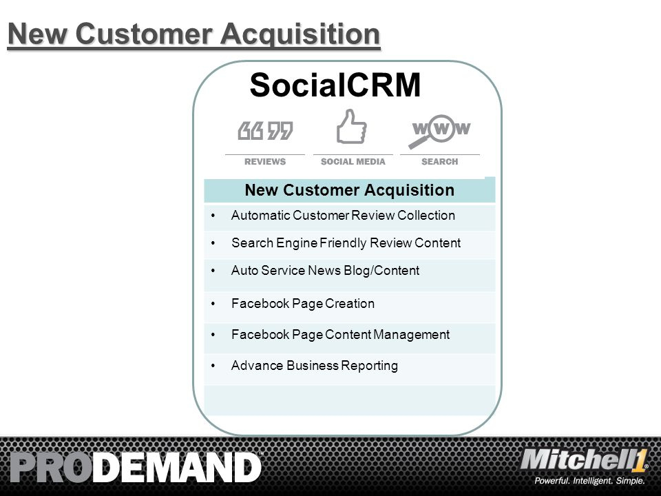 26 New Customer Acquisition Automatic Customer Review Collection Search Engine Friendly Review Content Auto Service News Blog/Content Facebook Page Creation Facebook Page Content Management Advance Business Reporting SocialCRM