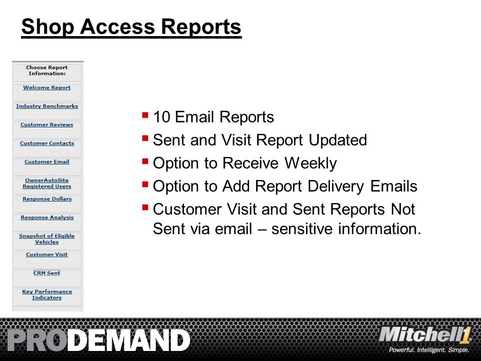 43 Shop Access Reports  10 Email Reports  Sent and Visit Report Updated  Option to Receive Weekly  Option to Add Report Delivery Emails  Customer Visit and Sent Reports Not Sent via email – sensitive information.