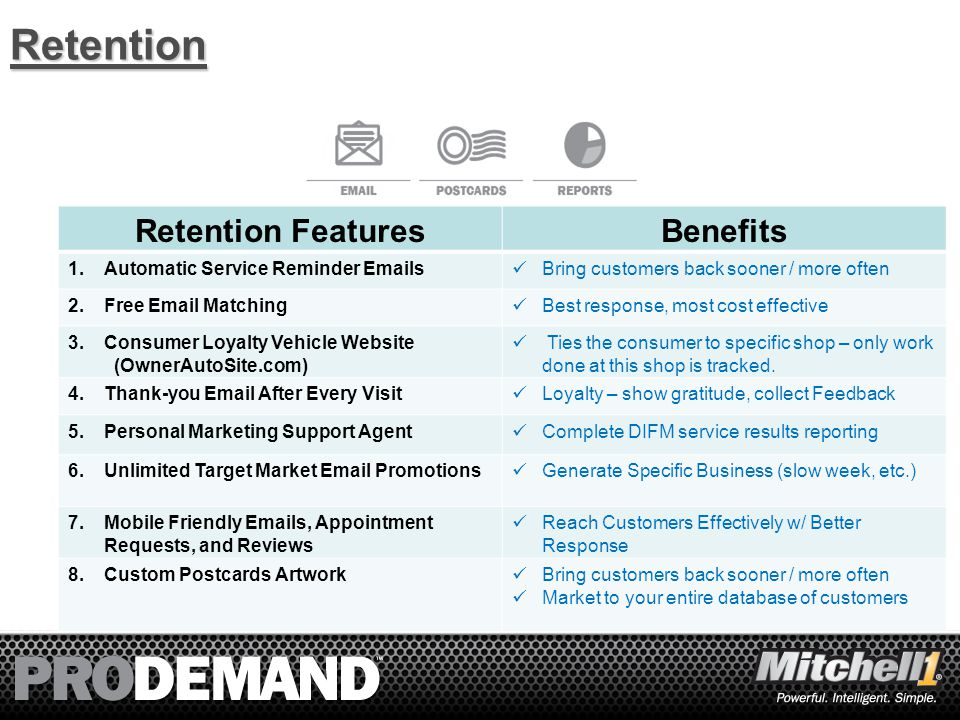 5Retention Retention FeaturesBenefits 1.Automatic Service Reminder Emails Bring customers back sooner / more often 2.Free Email Matching Best response, most cost effective 3.Consumer Loyalty Vehicle Website (OwnerAutoSite.com) Ties the consumer to specific shop – only work done at this shop is tracked.