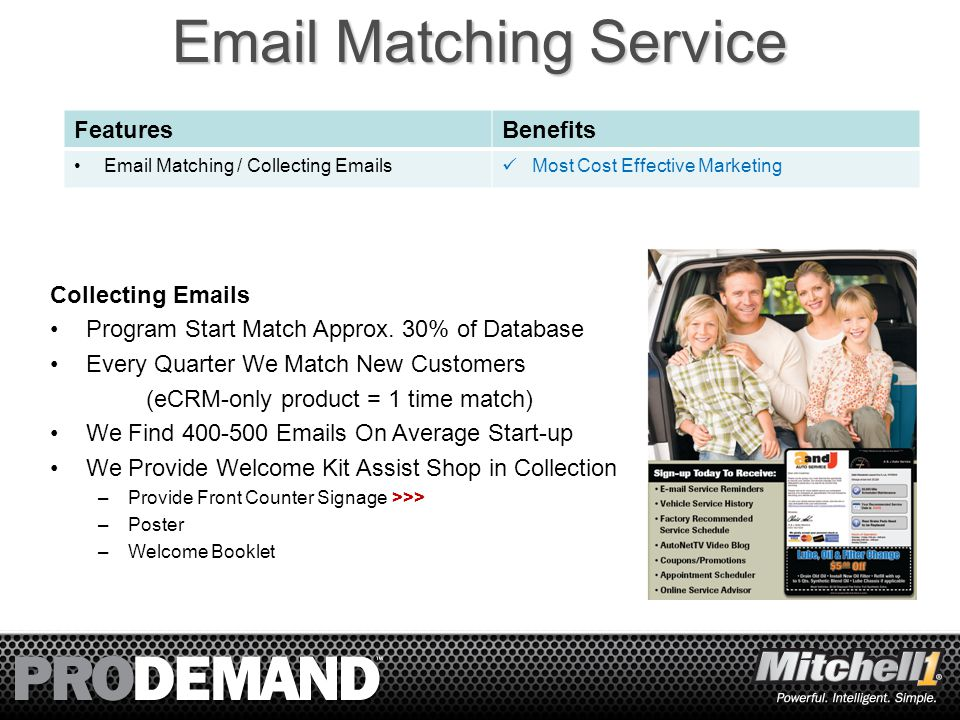 7 Email Matching Service FeaturesBenefits Email Matching / Collecting Emails Most Cost Effective Marketing Collecting Emails Program Start Match Approx.