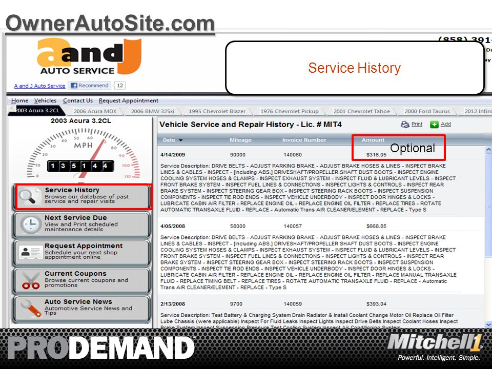 9 Service History OwnerAutoSite.com Optional