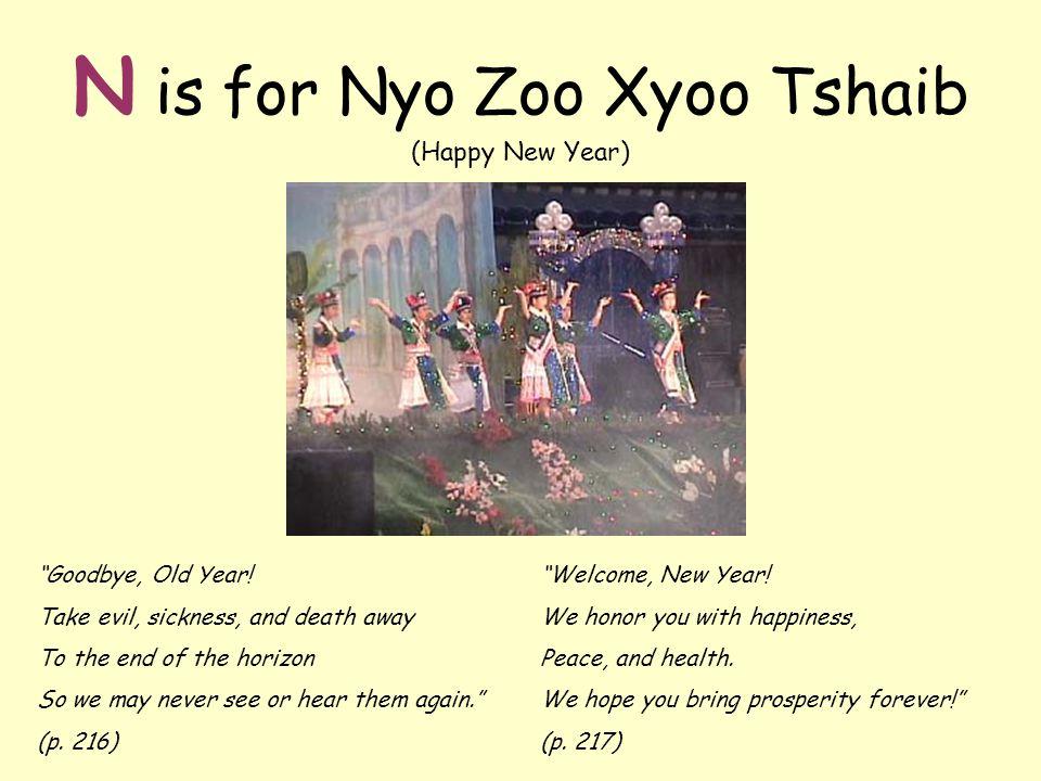 N is for Nyo Zoo Xyoo Tshaib (Happy New Year) Goodbye, Old Year.