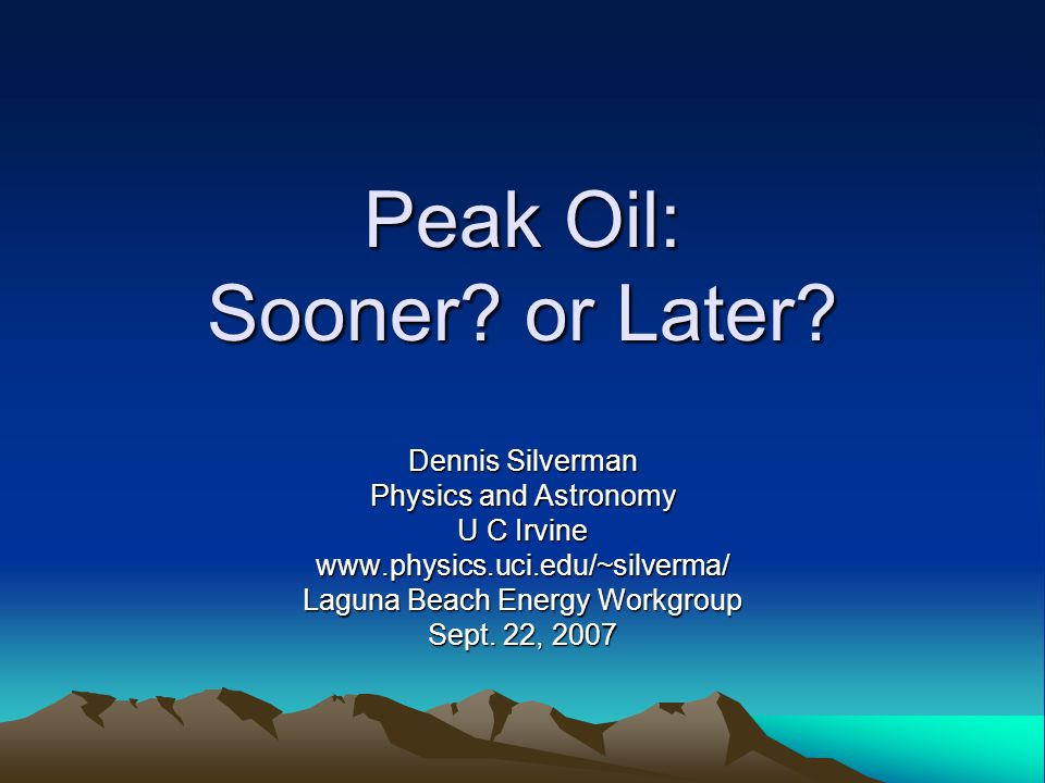 Arguments for Peak Oil Soon or The End of Cheap Oil Arguments for Peak Oil Soon or The End of Cheap Oil Some oil geologists, Campbell and the Association for the Study of Peak Oil and Gas (ASPO) Major fields have all been discovered Non middle east fields are in decline Rate of discovery low Saudi fields cannot expand to close gap (Matthew Simmons)