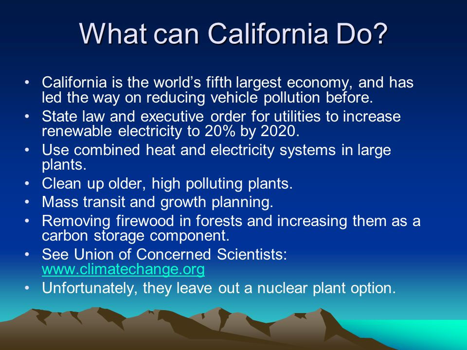 What can California Do.