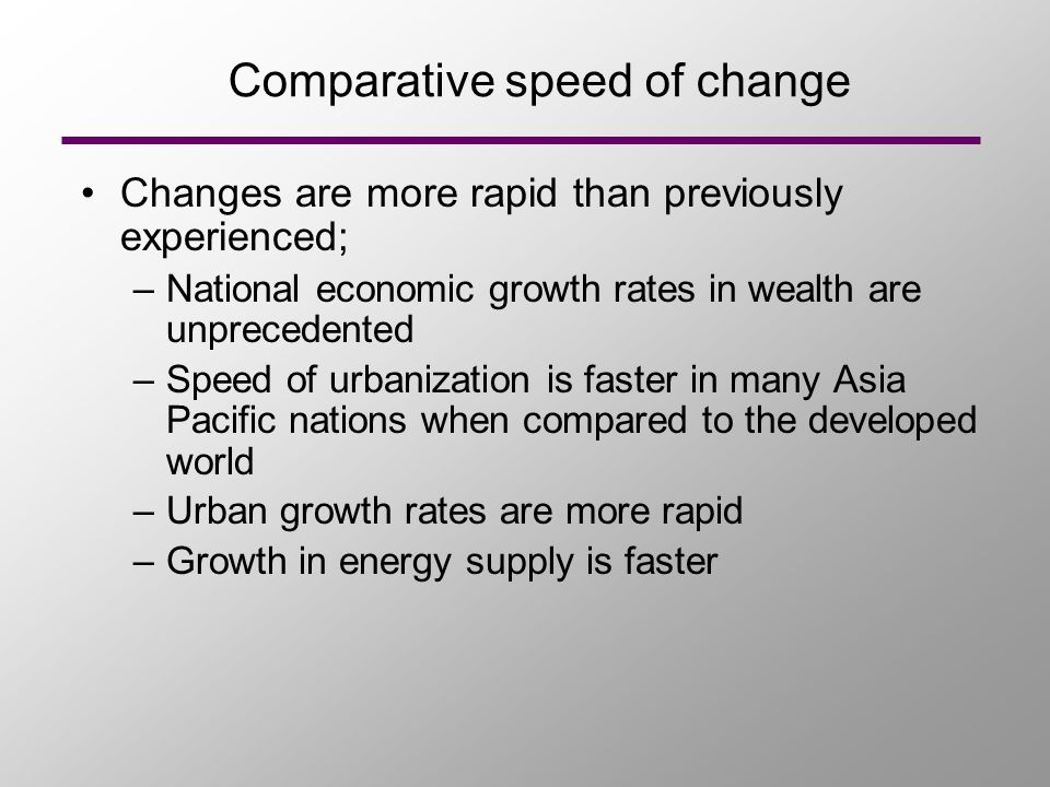 Comparative speed of change Changes are more rapid than previously experienced; –National economic growth rates in wealth are unprecedented –Speed of urbanization is faster in many Asia Pacific nations when compared to the developed world –Urban growth rates are more rapid –Growth in energy supply is faster
