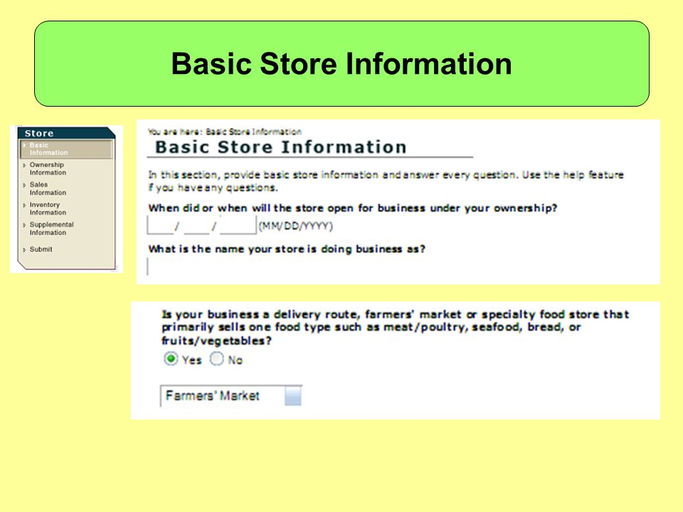 Basic Store Information