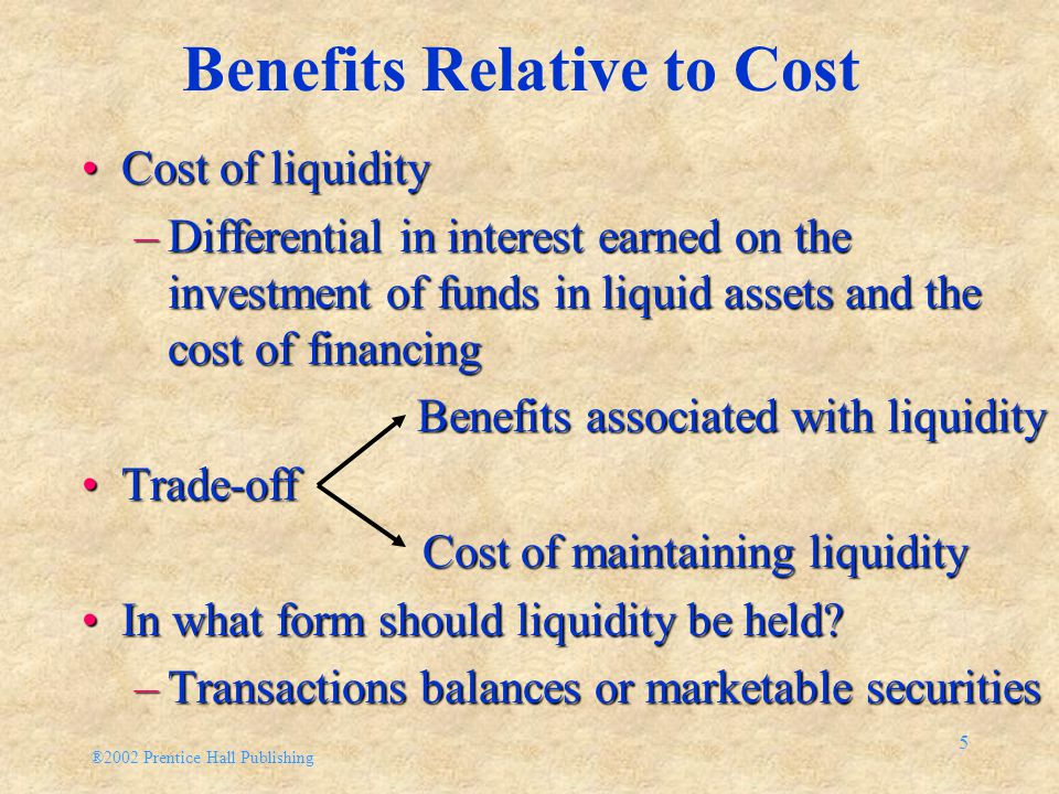 ®2002 Prentice Hall Publishing 5 Benefits Relative to Cost Cost of liquidityCost of liquidity –Differential in interest earned on the investment of funds in liquid assets and the cost of financing Benefits associated with liquidity Benefits associated with liquidity Trade-offTrade-off Cost of maintaining liquidity Cost of maintaining liquidity In what form should liquidity be held?In what form should liquidity be held.