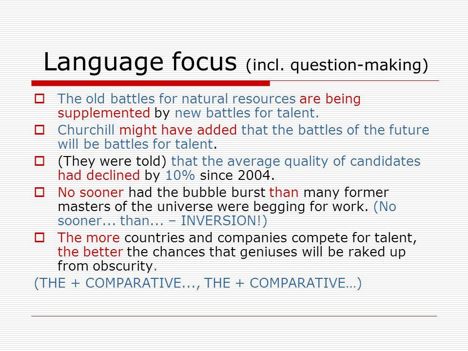 Language focus (incl.