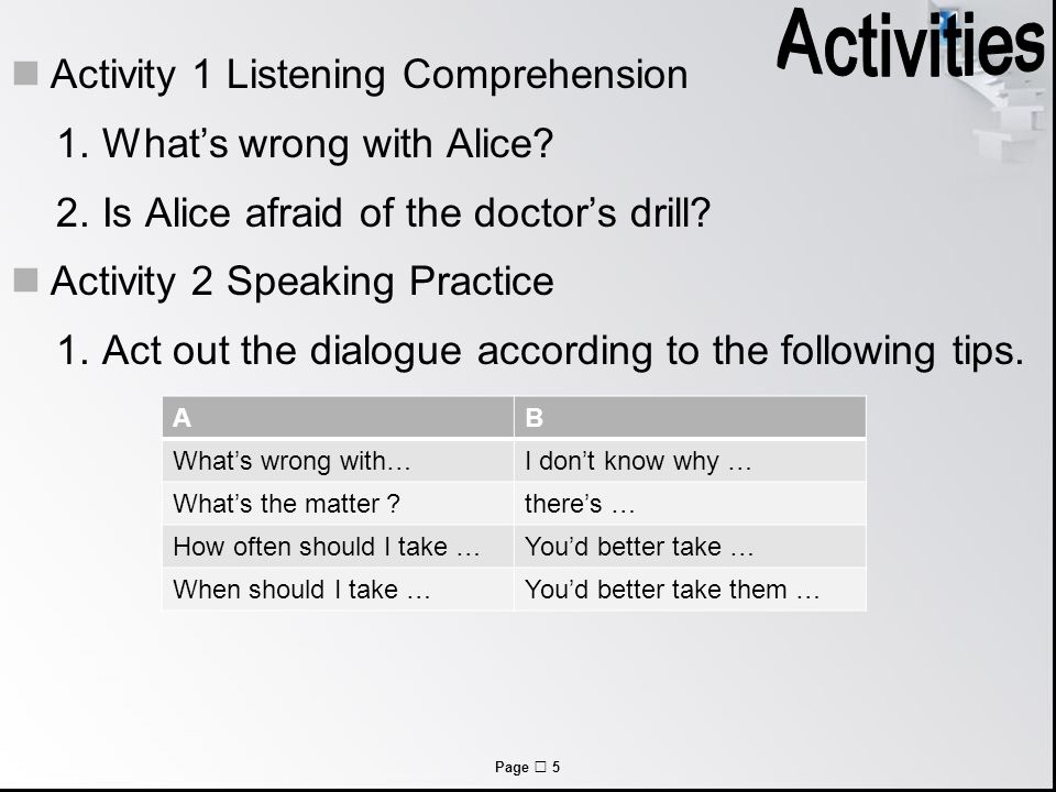 Page  5 Activity 1 Listening Comprehension 1. What's wrong with Alice.