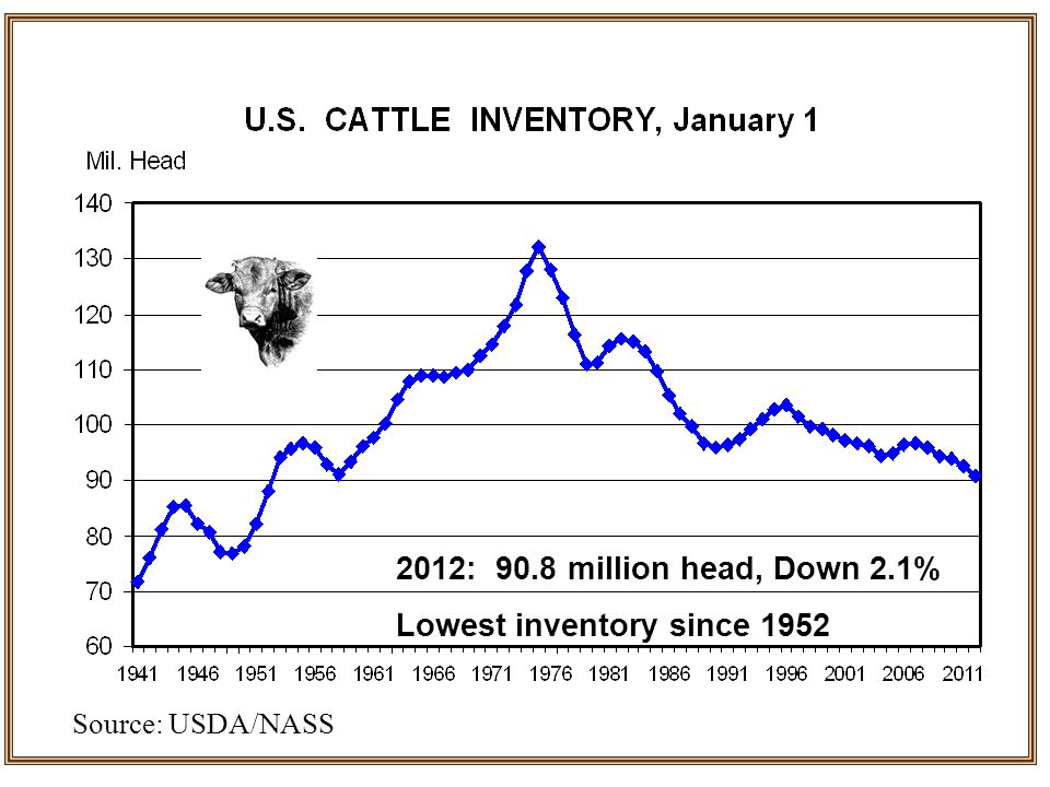 2012: 90.8 million head, Down 2.1% Lowest inventory since 1952 Source: USDA/NASS