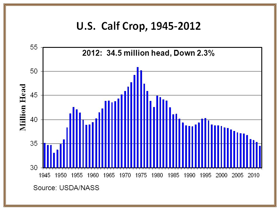 2012: 34.5 million head, Down 2.3% Source: USDA/NASS