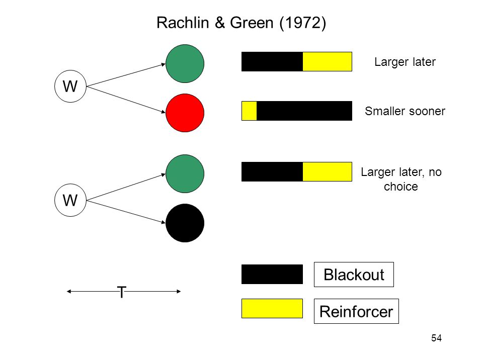 54 W W Rachlin & Green (1972) Blackout Reinforcer T Larger later Smaller sooner Larger later, no choice