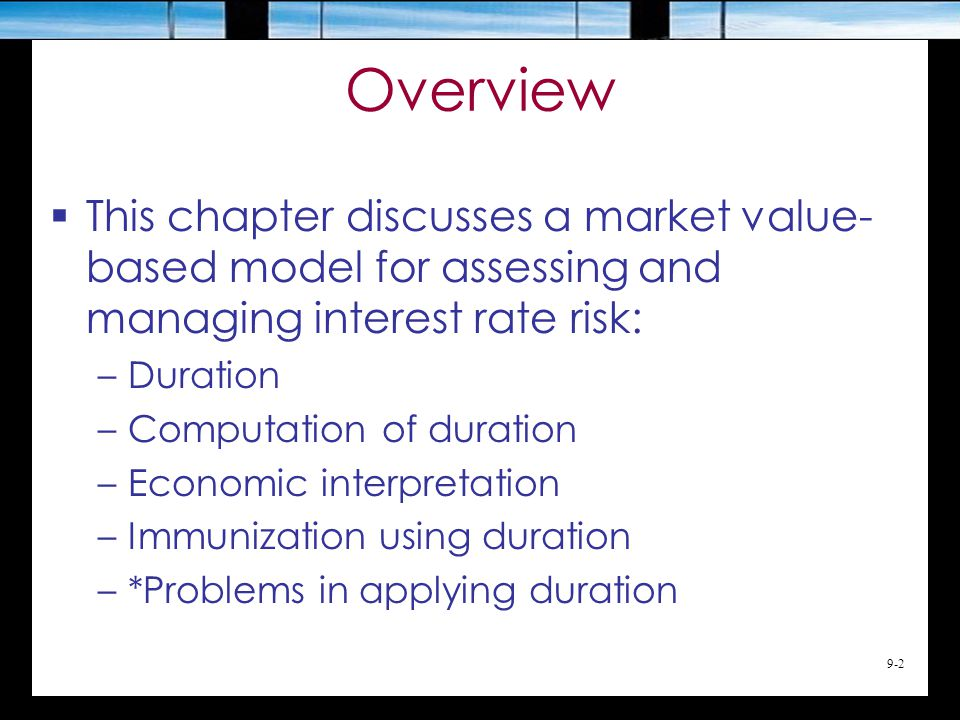 9-23 Duration as Index of Interest Rate Risk
