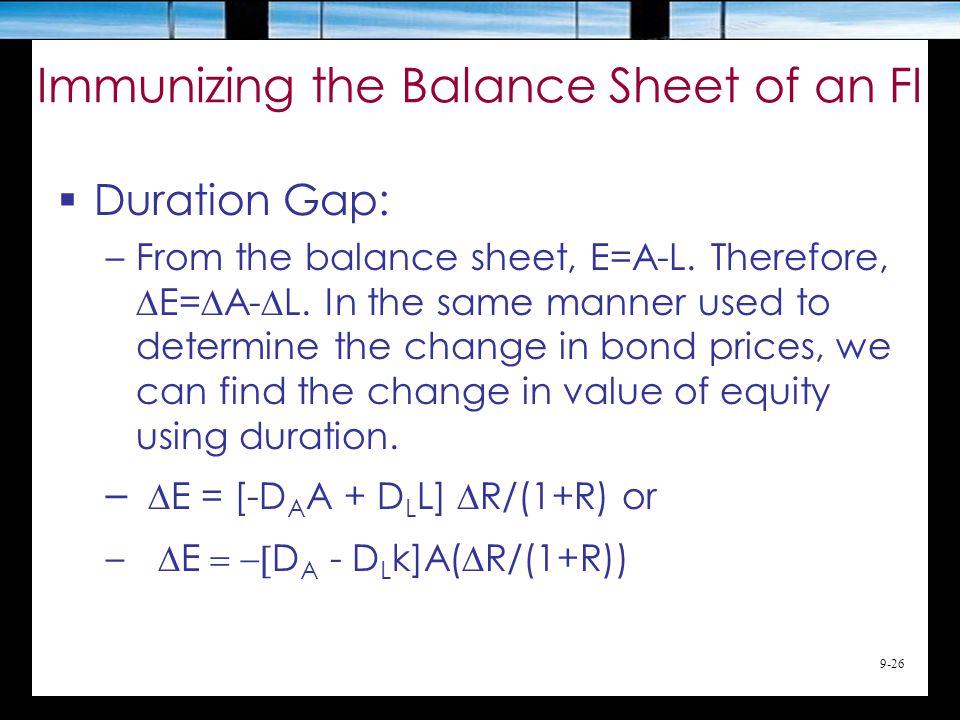 9-26 Immunizing the Balance Sheet of an FI  Duration Gap: –From the balance sheet, E=A-L.