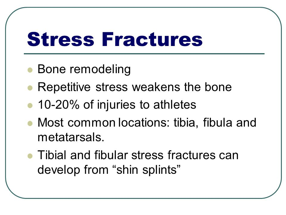 Stress Fractures Bone remodeling Repetitive stress weakens the bone 10-20% of injuries to athletes Most common locations: tibia, fibula and metatarsals.