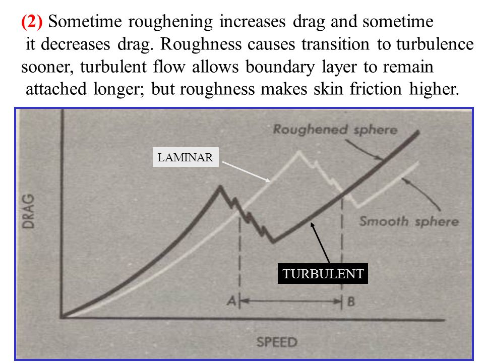 (2) Sometime roughening increases drag and sometime it decreases drag.