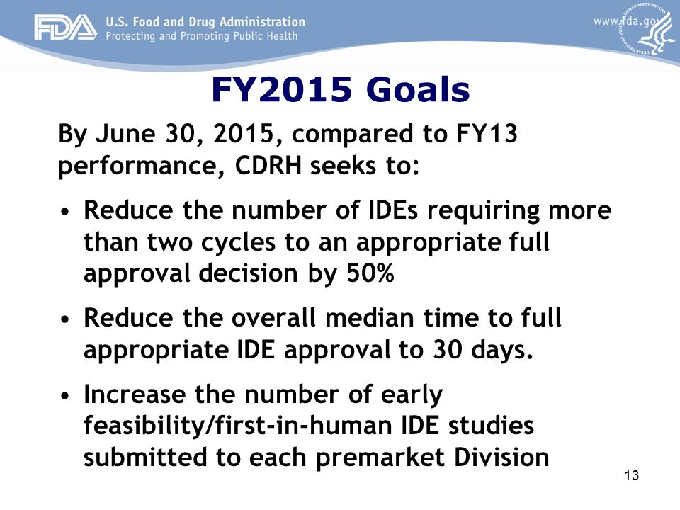 FY2015 Goals By June 30, 2015, compared to FY13 performance, CDRH seeks to: Reduce the number of IDEs requiring more than two cycles to an appropriate