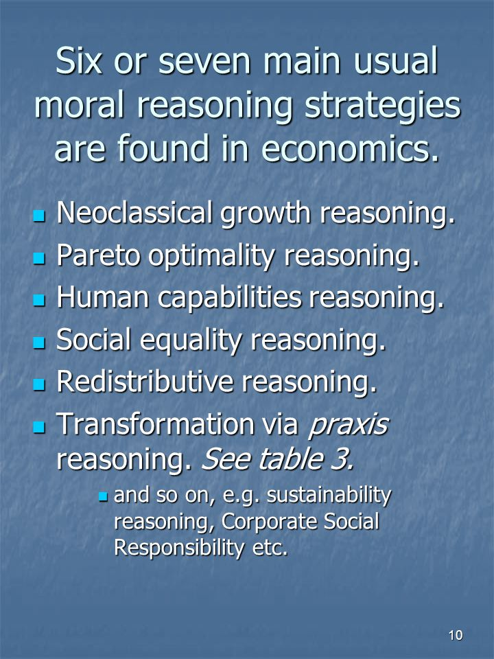 10 Six or seven main usual moral reasoning strategies are found in economics.