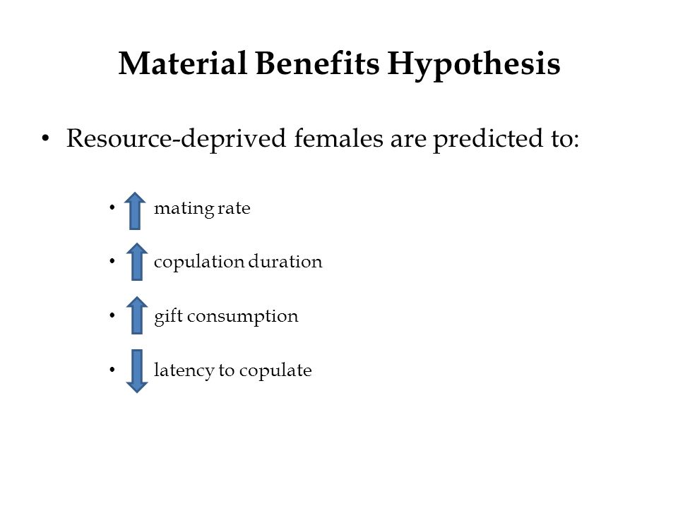 Material Benefits Hypothesis Resource-deprived females are predicted to: mating rate copulation duration gift consumption latency to copulate
