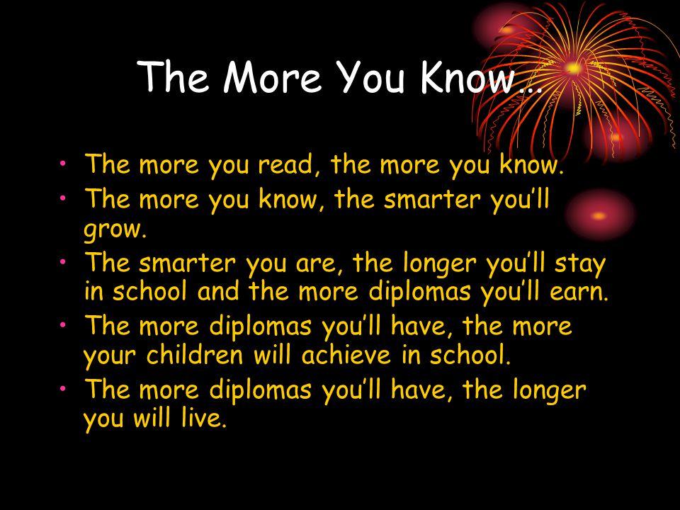 The More You Know… The more you read, the more you know. The more you know, the smarter you'll grow. The smarter you are, the longer you'll stay in sc