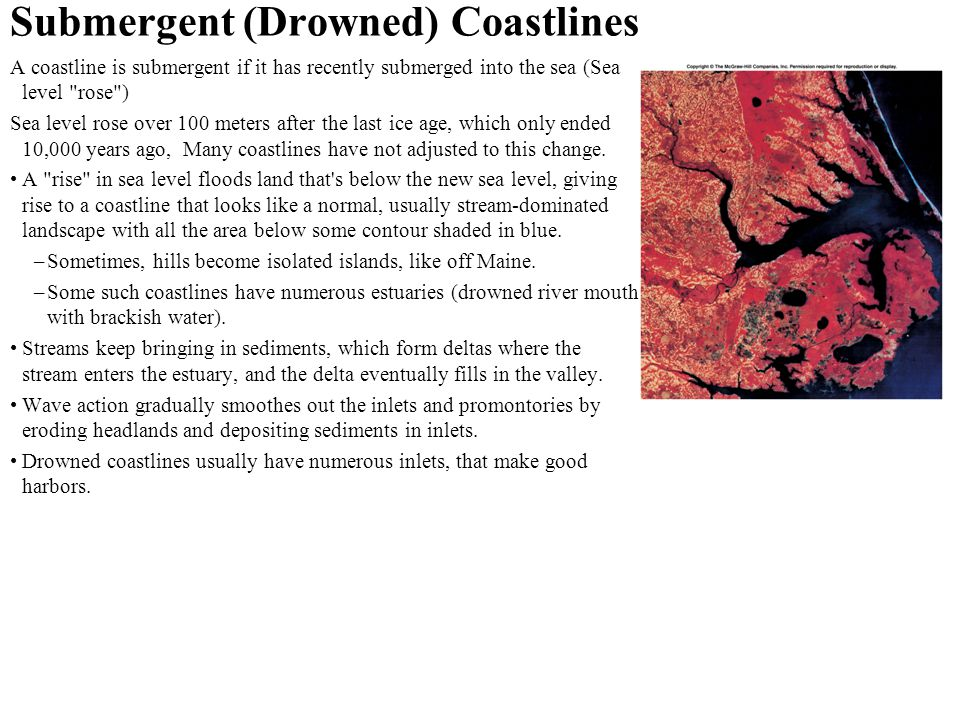 Submergent (Drowned) Coastlines A coastline is submergent if it has recently submerged into the sea (Sea level