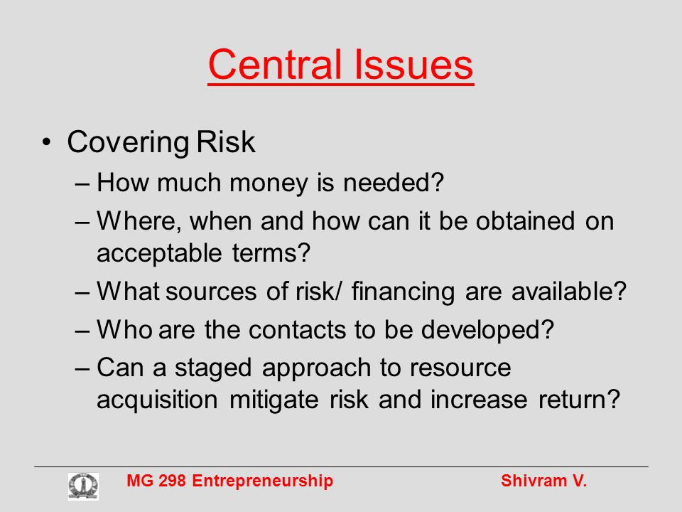 MG 298 Entrepreneurship Shivram V.Central Issues Covering Risk –How much money is needed.