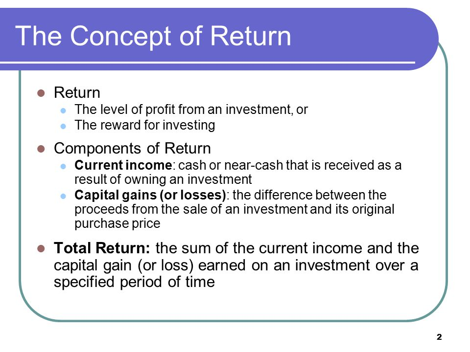 13 Holding Period Return (HPR) Holding Period Return The total return earned from holding an investment for a specified holding period (usually 1 year or less)