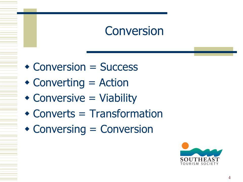4 Conversion  Conversion = Success  Converting = Action  Conversive = Viability  Converts = Transformation  Conversing = Conversion