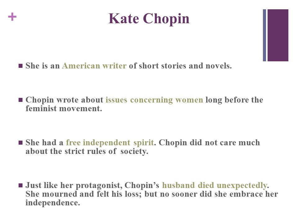 + Kate Chopin She is an American writer of short stories and novels.