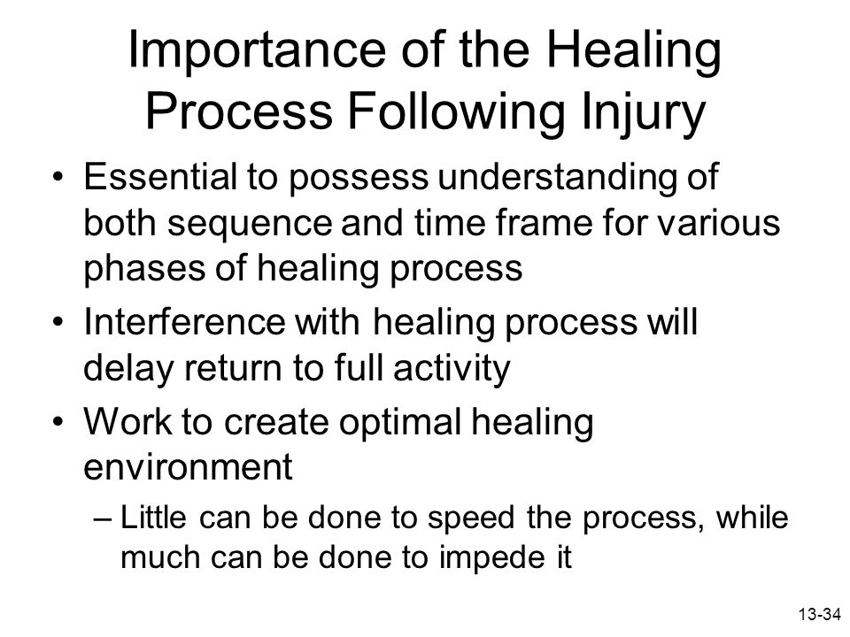 13-34 Importance of the Healing Process Following Injury Essential to possess understanding of both sequence and time frame for various phases of heal