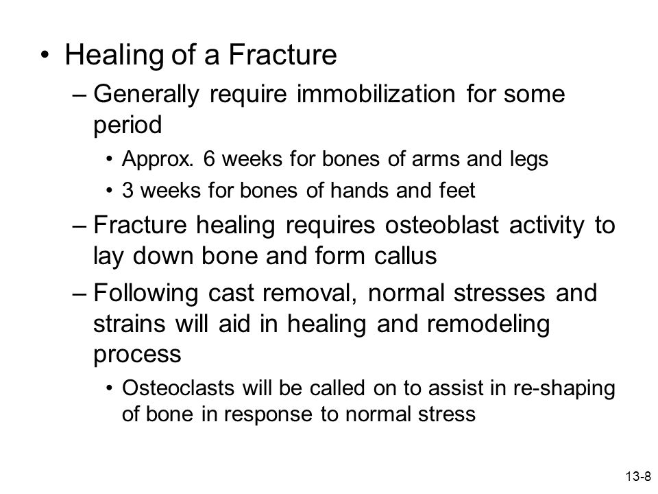 13-9 Stress fractures –Number of possible causes Overload due to muscle contraction Altered stress distribution due to muscle fatigue Changes in surface Rhythmic repetitive stress vibrations –Progressively becomes worse over time Initially pain during activity and then progresses to pain following activity –Early detection is difficult, bone scan is useful, x-ray is effective after several weeks –If suspected – stop activity for 14 days –Generally does not require casting