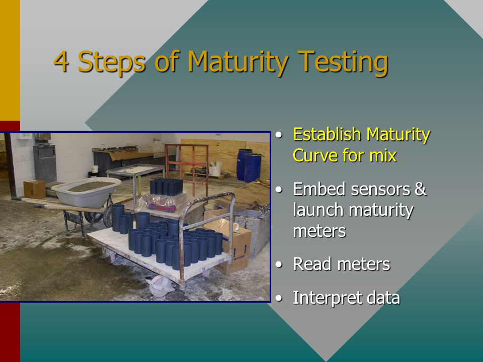 4 Steps of Maturity Testing Establish Maturity Curve for mix Embed sensors & launch maturity meters Read meters Interpret data