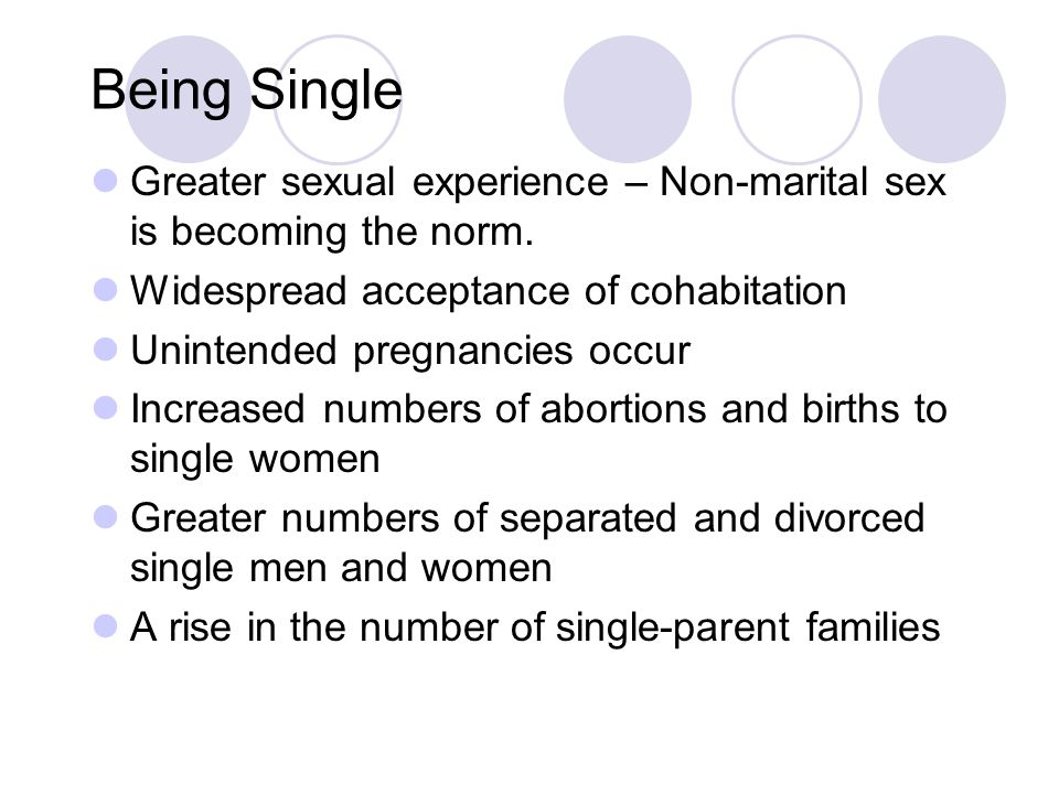 Being Single Greater sexual experience – Non-marital sex is becoming the norm.