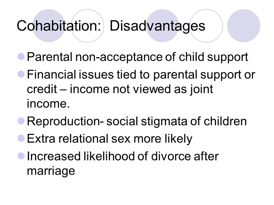 Cohabitation: Disadvantages Parental non-acceptance of child support Financial issues tied to parental support or credit – income not viewed as joint income.