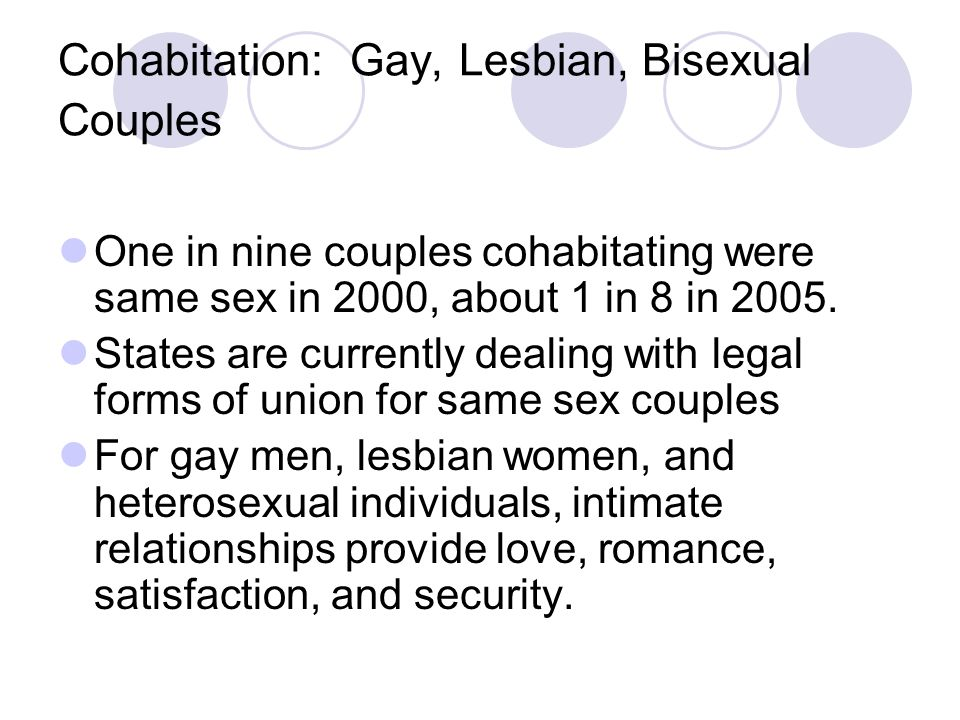 Cohabitation: Gay, Lesbian, Bisexual Couples One in nine couples cohabitating were same sex in 2000, about 1 in 8 in 2005.