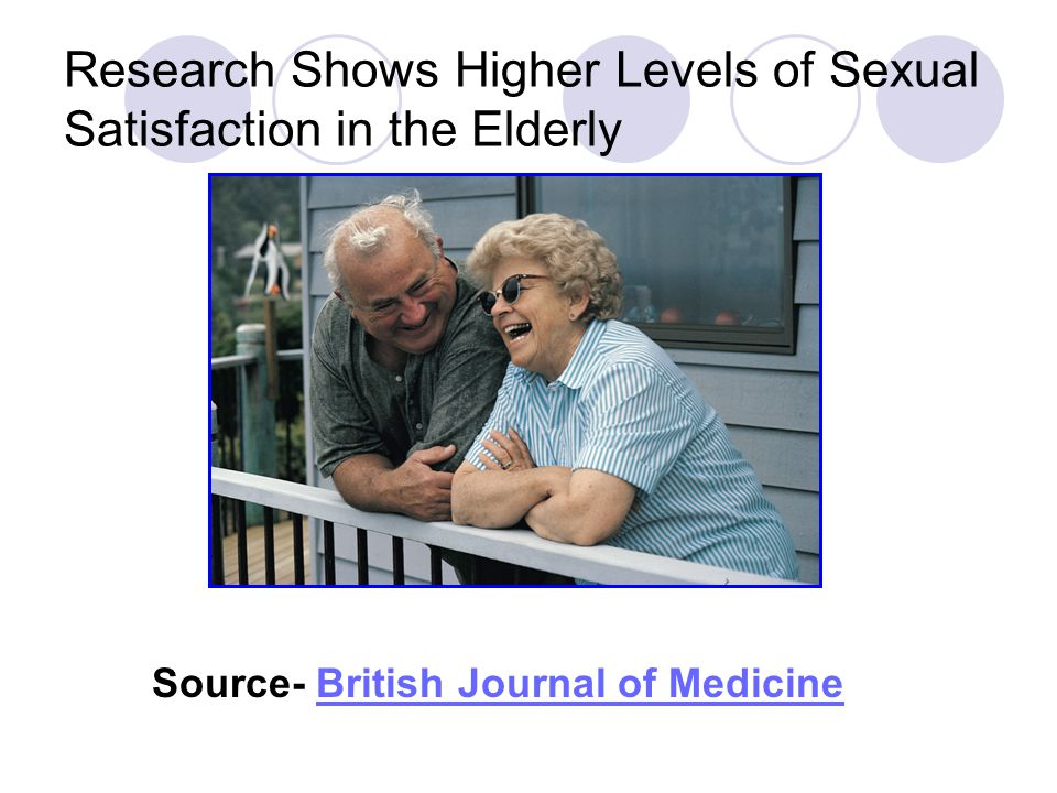 Research Shows Higher Levels of Sexual Satisfaction in the Elderly Source- British Journal of MedicineBritish Journal of Medicine