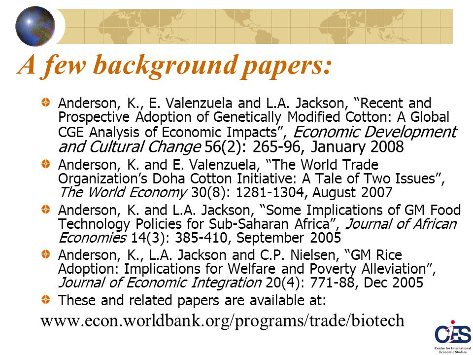 A few background papers: Anderson, K., E. Valenzuela and L.A.