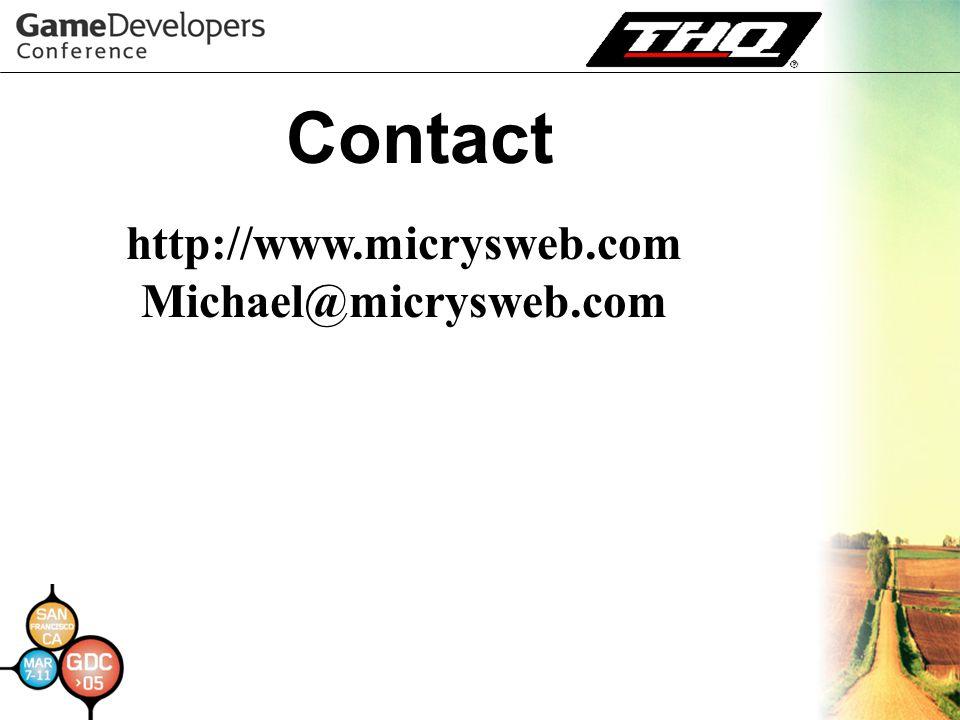 Contact http://www.micrysweb.com Michael@micrysweb.com