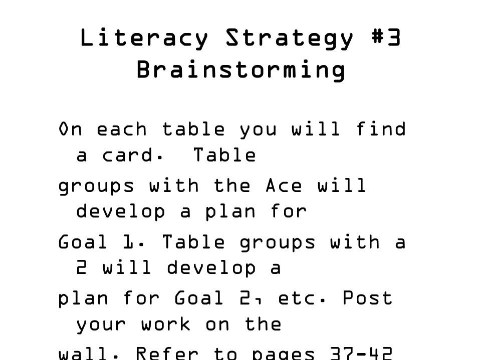Literacy Strategy #3 Brainstorming On each table you will find a card.