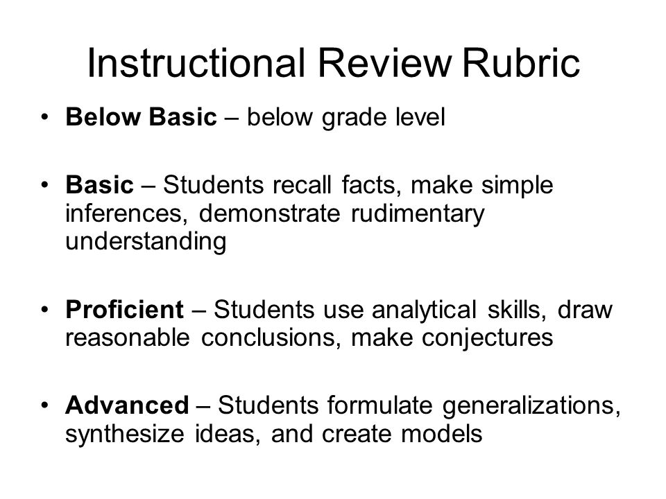 Instructional Review Rubric Below Basic – below grade level Basic – Students recall facts, make simple inferences, demonstrate rudimentary understanding Proficient – Students use analytical skills, draw reasonable conclusions, make conjectures Advanced – Students formulate generalizations, synthesize ideas, and create models