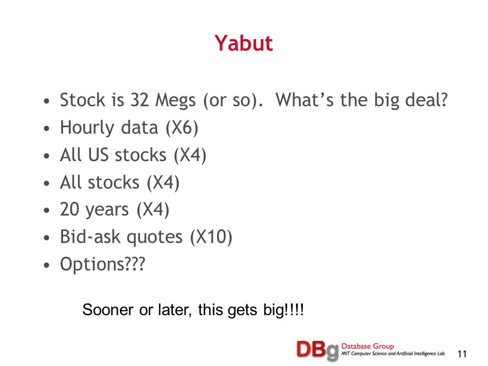 11 Yabut Stock is 32 Megs (or so). What's the big deal? Hourly data (X6) All US stocks (X4) All stocks (X4) 20 years (X4) Bid-ask quotes (X10) Options