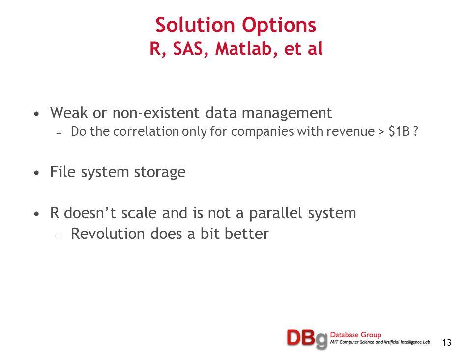 13 Solution Options R, SAS, Matlab, et al Weak or non-existent data management — Do the correlation only for companies with revenue > $1B .