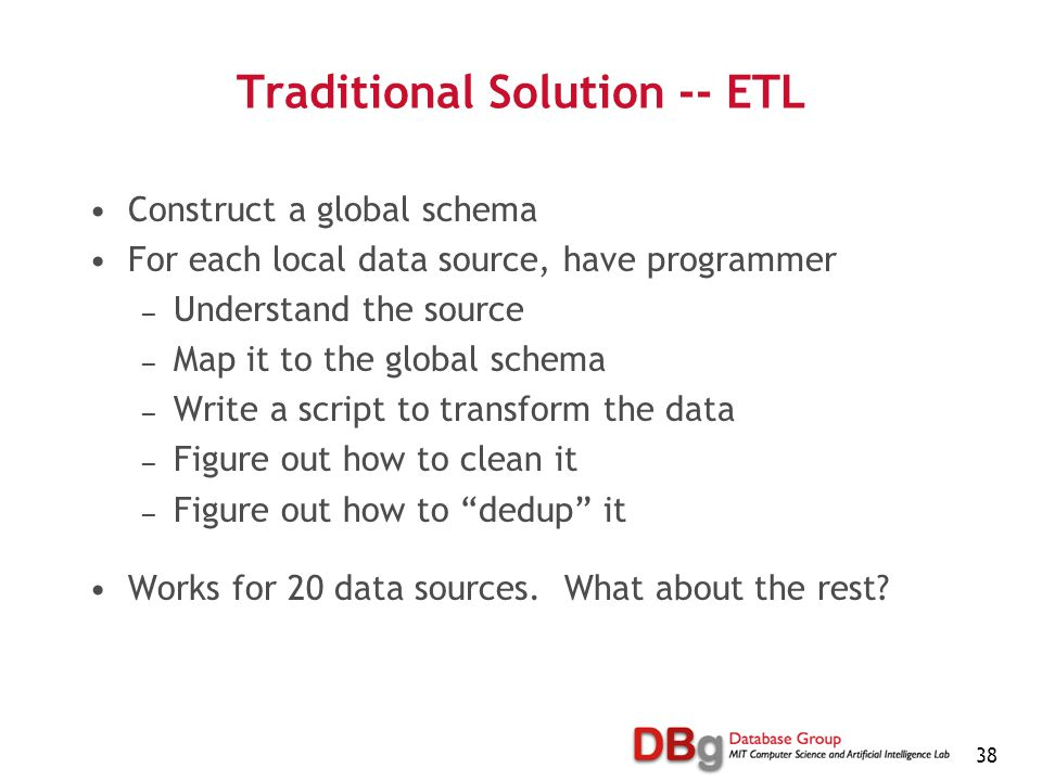 38 Traditional Solution -- ETL Construct a global schema For each local data source, have programmer — Understand the source — Map it to the global schema — Write a script to transform the data — Figure out how to clean it — Figure out how to dedup it Works for 20 data sources.