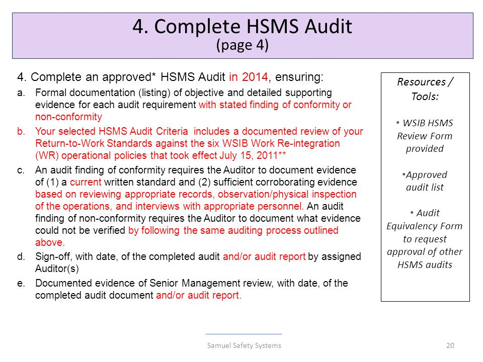 20 4. Complete HSMS Audit (page 4) 4.
