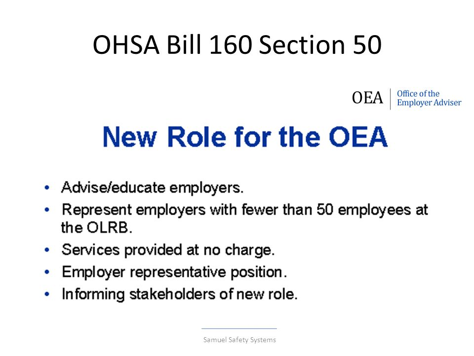 OHSA Bill 160 Section 50 Samuel Safety Systems