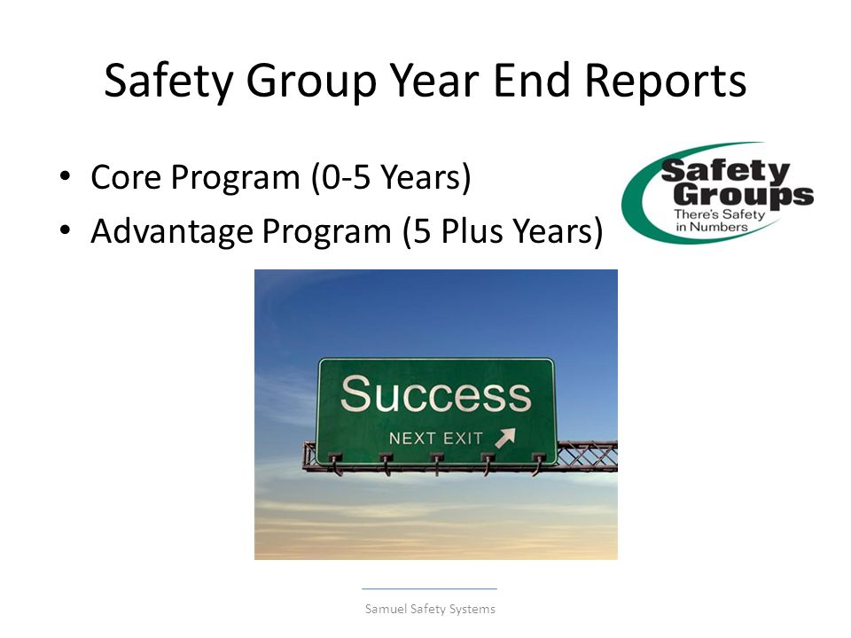 Safety Group Year End Reports Core Program (0-5 Years) Advantage Program (5 Plus Years) Samuel Safety Systems