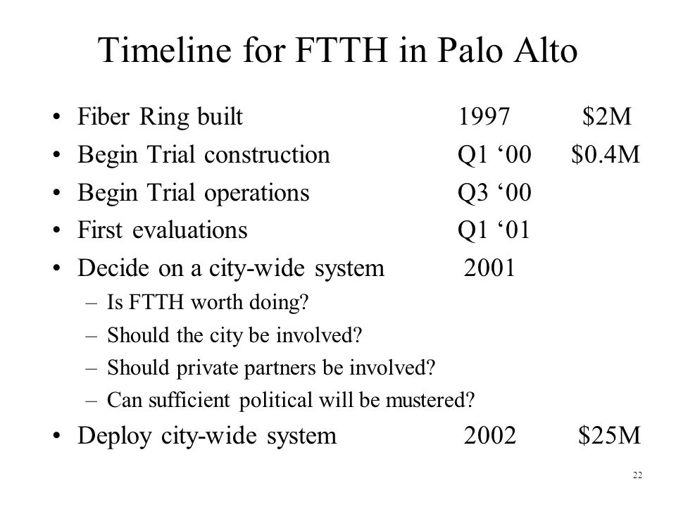 22 Timeline for FTTH in Palo Alto Fiber Ring built 1997 $2M Begin Trial constructionQ1 '00 $0.4M Begin Trial operationsQ3 '00 First evaluationsQ1 '01 Decide on a city-wide system 2001 –Is FTTH worth doing.